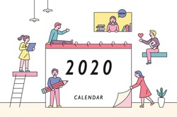 Little cute people characters around the big calendar. People are making plans for the New Year. flat design style minimal vector illustration.