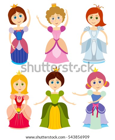 little cute princesses vector
