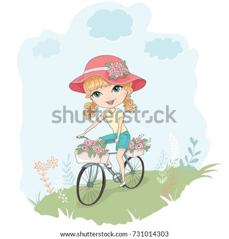 Little cute vector girl with bicycle,Romantic hand drawing poster/cartoon girl,Bicycle riding/Can be used for baby t-shirt print,kids wear,baby shower celebration greeting and invitation card.