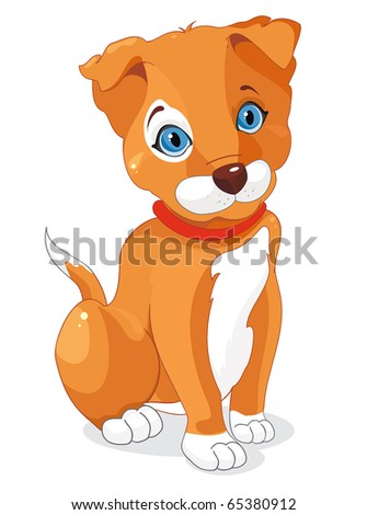 Little Dog Sitting. Young puppy. Cute brown playful puppy smiling. Clipart vector illustration.