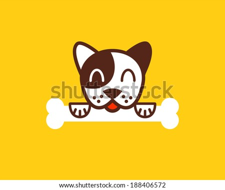 Little dog with bone. Icon.
