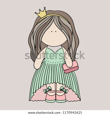 little doll princess vector