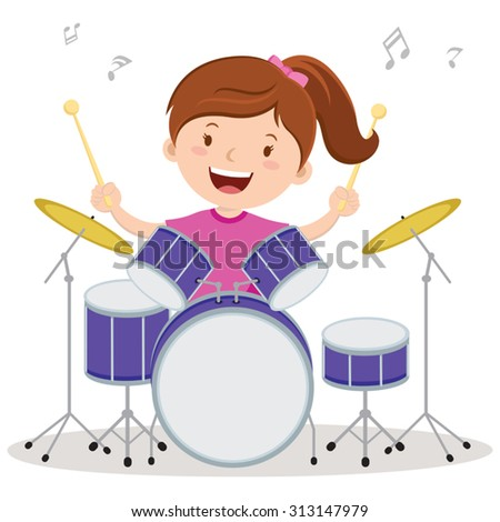 little drummer girl vector