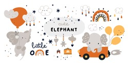 Little elephant is flying with balloon Childish collection with cute baby animals characters. Vector cartoon doodle design elements for kids design: rainbow, houses, clouds