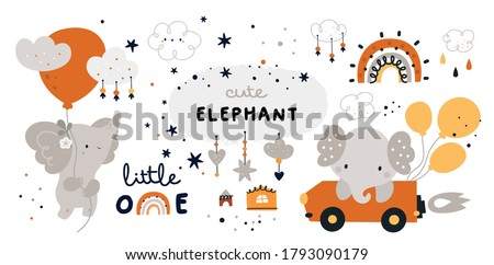 little elephant is flying with