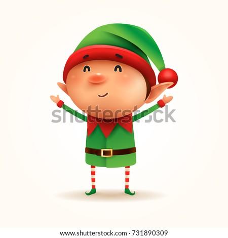 Little Elf. Vector illustration of elf on white background. Isolated.