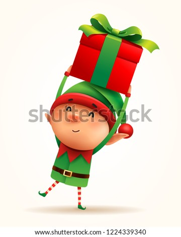 Little elf with gift present. Isolated.