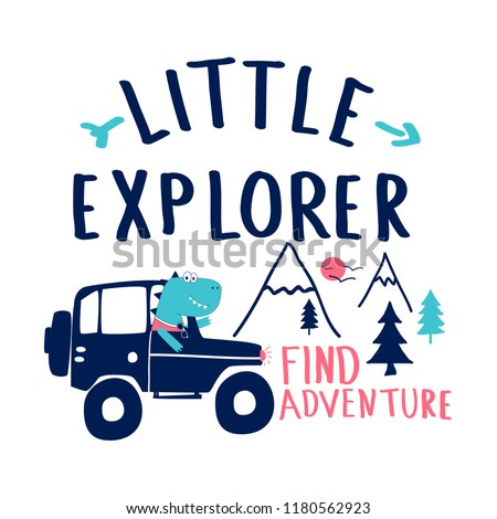 Little explorer slogan and mountain hand drawing illustration vector.