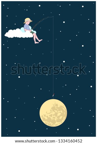 little fisherman catches the moon on a cloud. Original Postcard, Poster