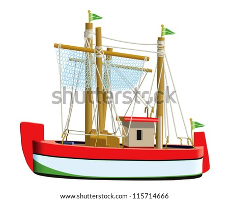 Little fishing ship model isolated on a white background. (Used mesh and blend tool).