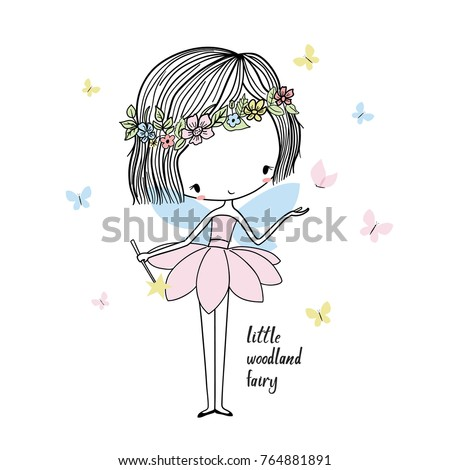 Little forest fairy. Nursery vector  illustration. Can be used for kid's clothing. Use for print, surface design, fashion wear