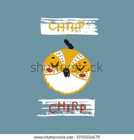 Little Funny Bird Face. Cute Quail Bird Head for Tee Print Design for Kids. Vector Cartoon Baby Animal. Scandinavian Card, Print or Poster Design