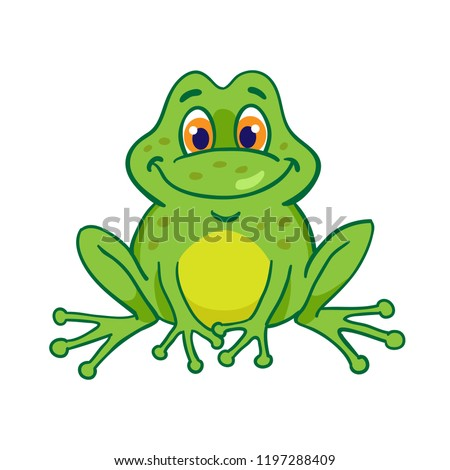 Little funny frog is sitting. Isolated on a white background