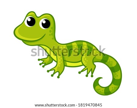 Little funny green lizard in a cartoon style on a white background. Vector illustration with cute animals.