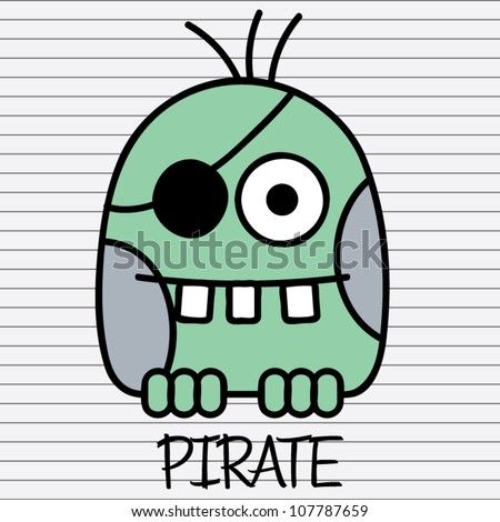 Little funny green monster pirate with eye patch, vector illustration