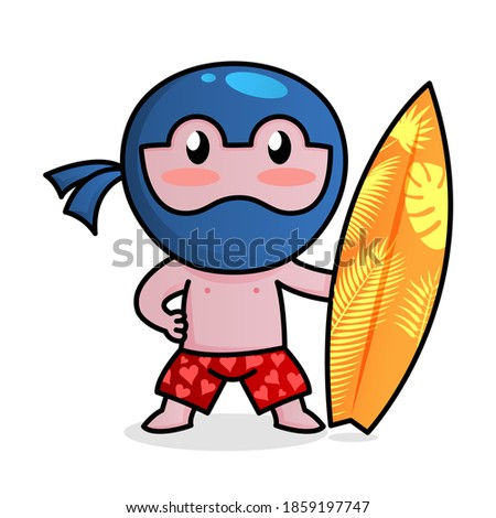 little funny ninja surfeng in