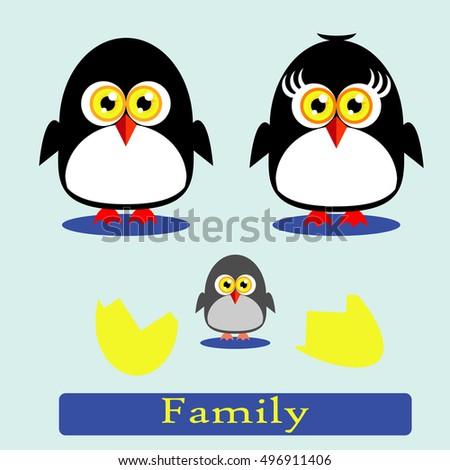 little funny penguins family on
