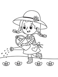 Little gardener watering vegetables. Vector illustration of a coloring page.