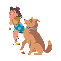 Little Girl Afraid of Dogs Dodging with Terror Vector Illustration