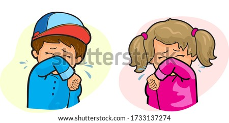 little girl and boy coughing into elbow isolated on white background, social distance, example of sneezing, virus protection 2020, public sneeze, concept cartoon cute character, flu, cough elbow icon