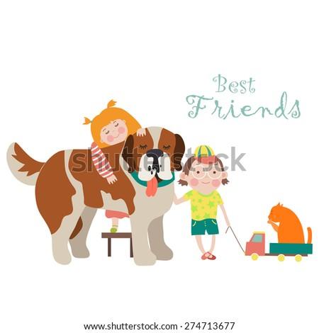 little girl and boy hugging dog
