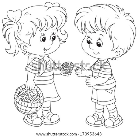 Little girl and boy on Easter Day