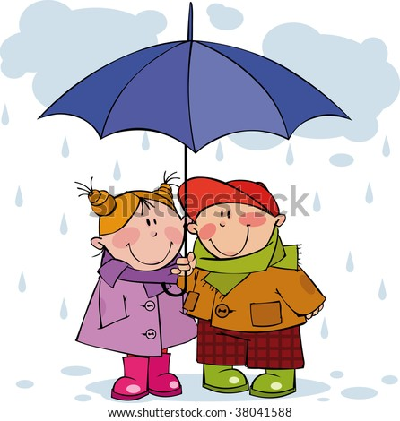 Little girl and boy under a blue umbrella