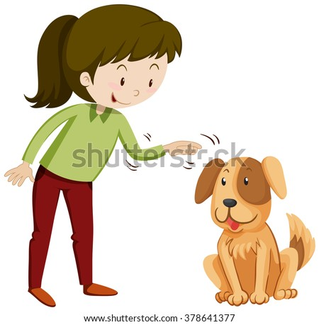 Little girl and puppy with happy face illustration