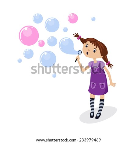 little girl blowing soap