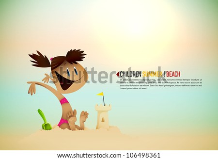 stock vector little girl building sand castle on the beach sunny seashore eps vector background layers 106498361 Free homemade teen black sex videos