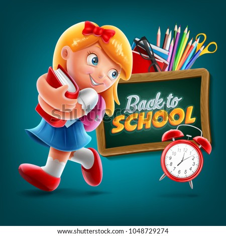 little girl cartoon for back to school