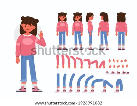 Little Girl  Character Constructor for Animation.  Front, Side and Back View. Cute Kid wearing Trendy Clothes in Different Postures. Body Parts Collection. Flat Cartoon Vector Illustration.