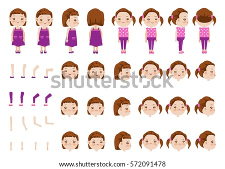 Little Girl character creation set. Icons with different types of faces and hair style, emotions,  front, rear, side view of female person. Moving arms, legs. Vector illustration