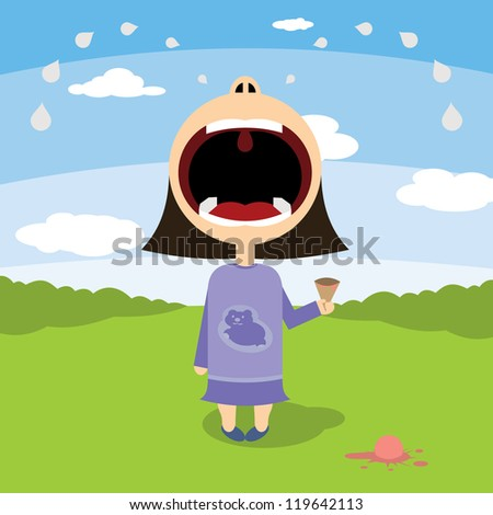 little girl cries over ice cream