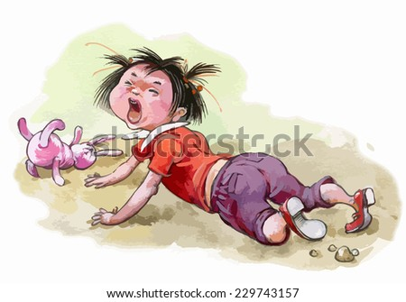 Little girl crying. Children illustration for School books, magazines, advertising and more. Separate Objects. VECTOR.