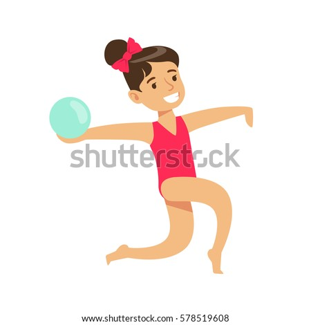 Little Girl Doing Rhythmic Gymnastics Exercise With Ball In Class, Future Sports Professional