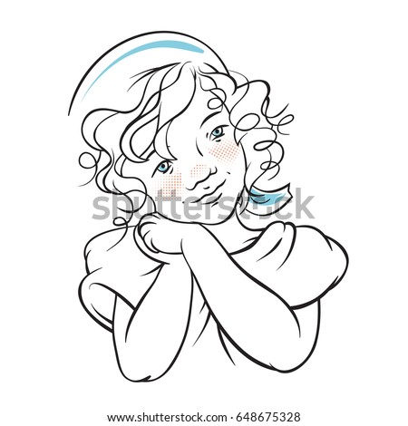 Stock Photo Little Girl Doodle, Kid Smiling, Vintage Look With Sailor Hat, Isolated On White Background, Vector Illustration.