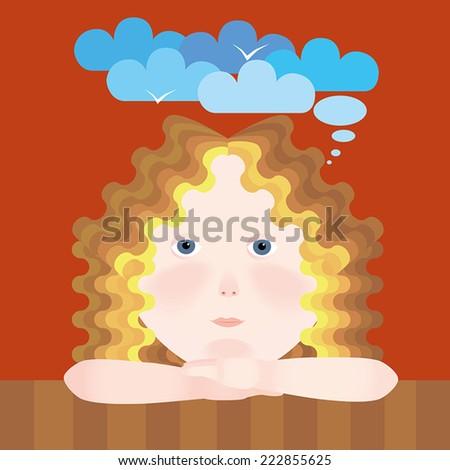 little girl dreams vector