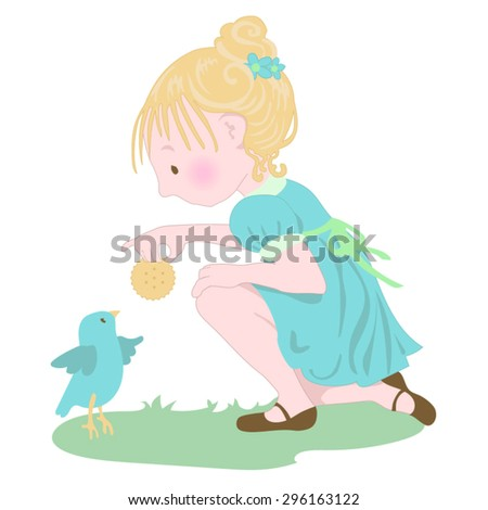 little girl feeding a baby bird