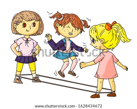 Little girl friends jumping through elastic band. Female yard active game. Playground or park activities. Entertainment for children. Playful summer time and vacation. Vector flat illustration