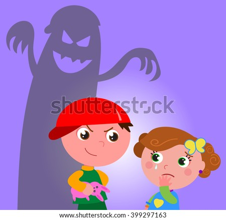 Little girl frightened by a bad bully guy who have taken her teddy. Vector illustration. #399297163