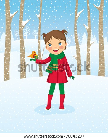 Little girl gets surprise gift for a walk in the woods./Girl walking in winter forest