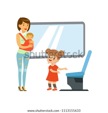 Little girl giving way to woman with baby in public transport, kids good manners concept vector Illustration on a white background