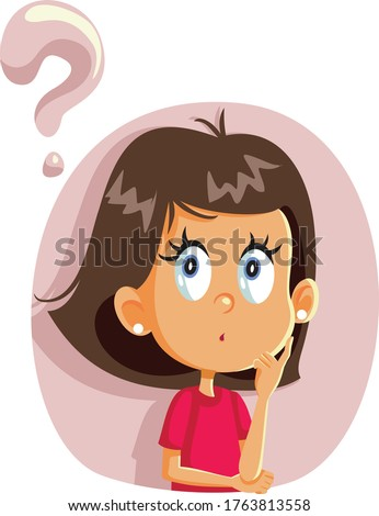 Little Girl Having Many Questions Vector Cartoon. Funny child wondering looking for answers  Stock fotó ©