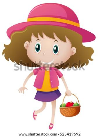 Little girl holding basket of fruits illustration