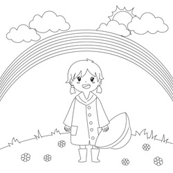 little girl holding her rain hat under the rainbow, cartoon vector illustration. Coloring page for kids template
