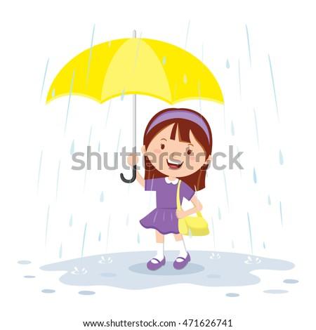 Little girl holding umbrella in the rain. Vector illustration of a girl with umbrella in the rainy day.