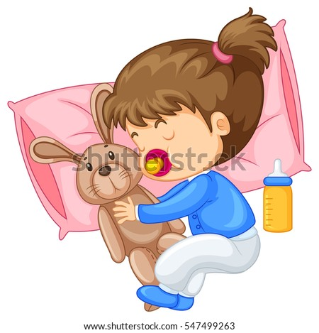 Little girl hugging rabbit in bed illustration