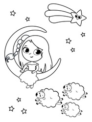 Little girl illustration in night and sleep theme. Black and white vector illustration for painting activity.