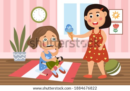 Little girl in a bad mood breaking her doll as her sister or mother tries to placate her by offering an ice cream, cartoon colored vector illustration Foto stock ©